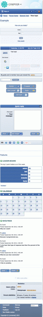Mobile mode for the forum. This site is the out-of-the-box default, the panels are shown underneath the main page. On real sites you'll likely want to turn these off on mobile mode and move them to their own pages.