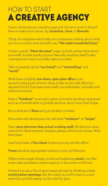 Tongue-in-cheek guide to starting a creative agency (copyright Ben Horsley)