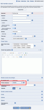 Adding members manually in the Admin Zone, highlighting how we can set the initial usergroup