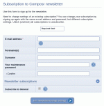 Subscribing to the newsletter via the maintenance module